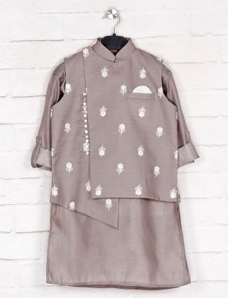 Grey thread work boys cotton sillk waistcoat