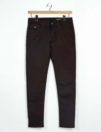 GS78 brown solid mens jeans