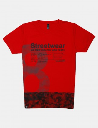 GS78 red printed cotton t-shirt