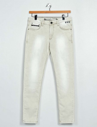 GS78 washed cream slim fit mens jeans