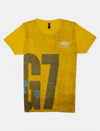 GS78 yellow slim fit cotton printed t-shirt