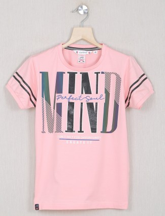 Gusto pink printed casual t-shirt for boys