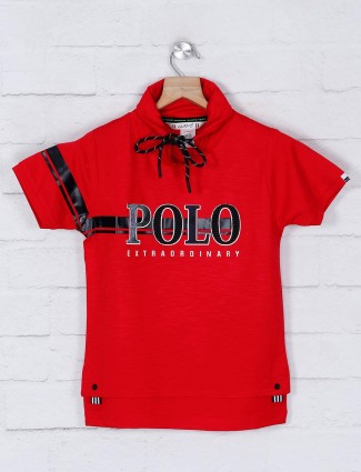 Gusto red printed cotton t-shirt