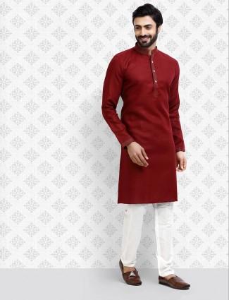 Half buttoned placket maroon hue kurta suit