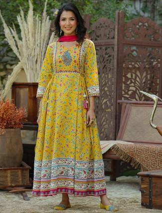 Honey yellow cotton anarkali style festive wear kurti