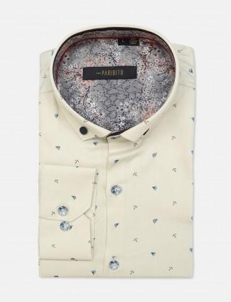 I Party cream cotton printed shirt
