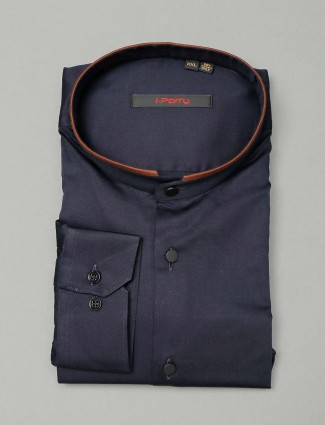 I Party navy solid cotton shirt
