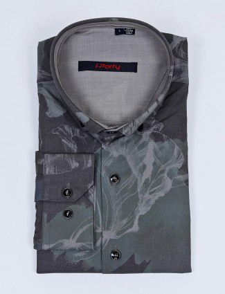 I Party olive printed full buttoned placket shirt