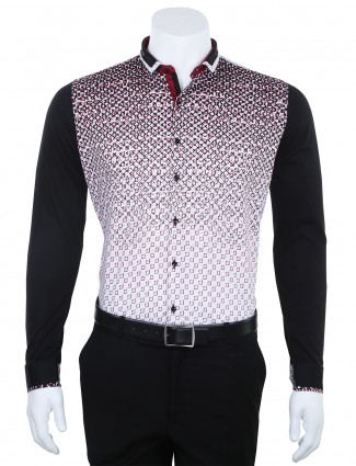 I Party printed maroon white slim fit cotton Men shirt