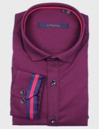 I Party solid purple color shirt