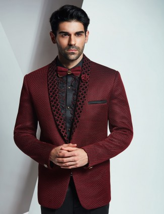 Imported terry rayon coat suit in maroon color