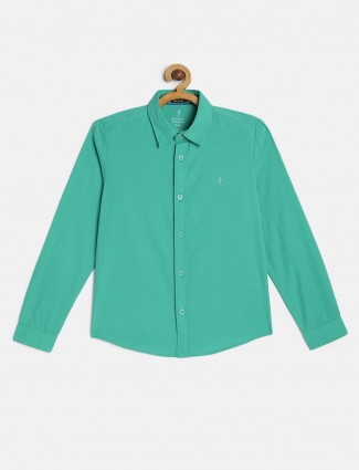Indian Terrain casual wear green solid shirt