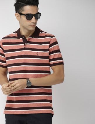 Indian Terrain peach hue stripe t-shirt