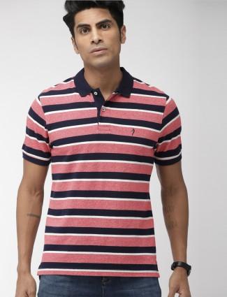 Indian Terrain pink color stripe cotton t-shirt