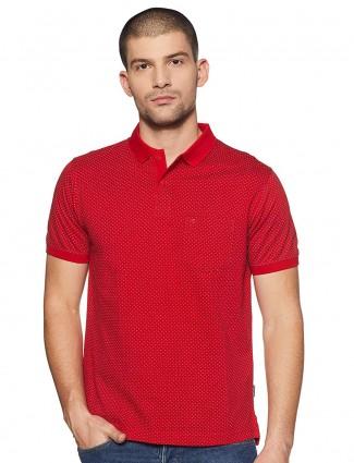 Indian Terrain slim fit printed red t-shirt