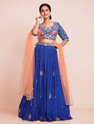 Ink blue attractive georgette lehenga choli for wedding occasion