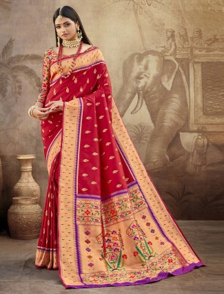 Innovative maroon banarasi paithani silk wedding wear saree