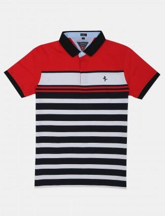 Instinto mens red stripe polo t-shirt