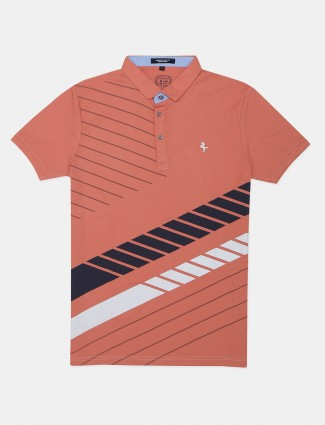 Instinto printed peach t-shirt for casual look