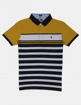 Instinto stripe style yellow colour cotton polo t-shirt