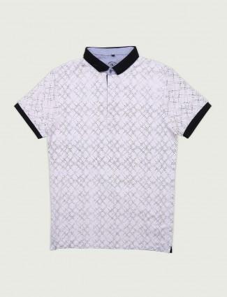 Instinto white printed cotton t-shirt