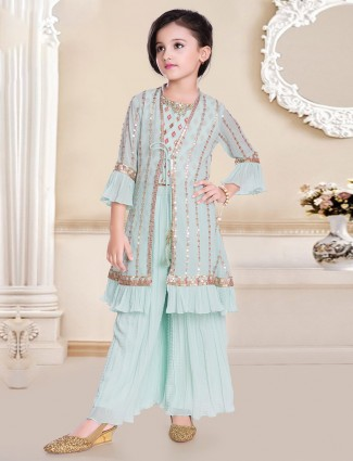 Jacket style palazzo suit for girls in aqua