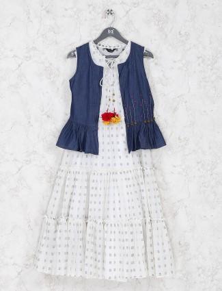 Jacket style white color cotton casual kurti