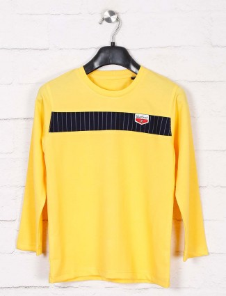 Jappkids cotton yellow solid t-shirt