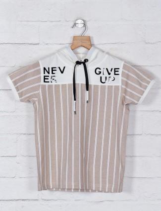 Jappkids stripe beige slim fit t-shirt