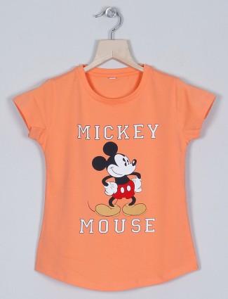 Just cloth orange casual wear t-shirt