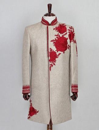 Jute fabric beige wedding sherwani
