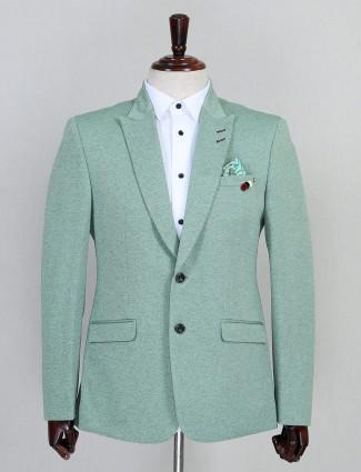 Jute solid green party wear blazer