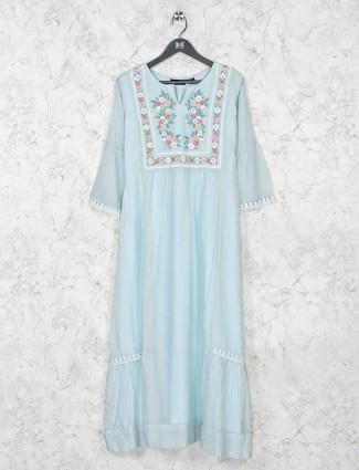 Keyhole neck aqua cotton casual kurti