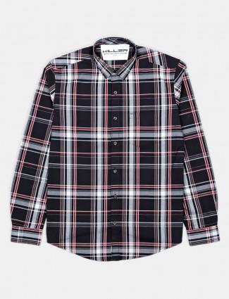 Killer cotton checks black mens shirt