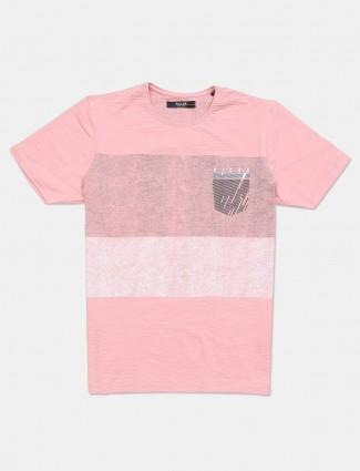 Killer peach printed cotton slim fit t-shirt