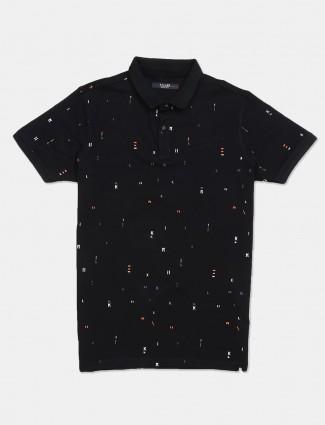 Killer printed black cotton slim fit t-shirt