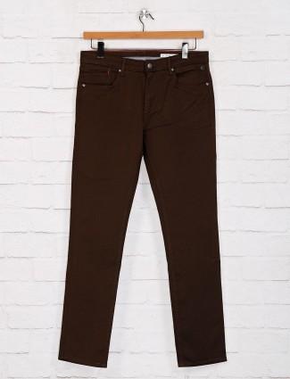 Killer solid brown slim fit casual jeans