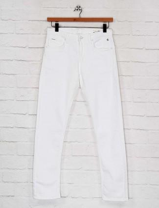 Killer white color solid slim fit jeans