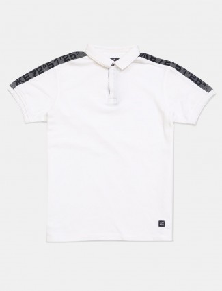Killer white cotton slim fit solid men t-shirt