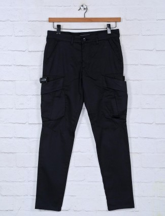 Kozzak solid black cargo for mens