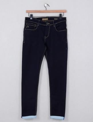 Kozzak solid denim jeans in navy
