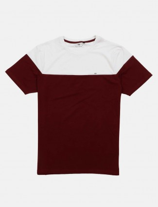 Kuch Kuch maroon and white solid t-shirt