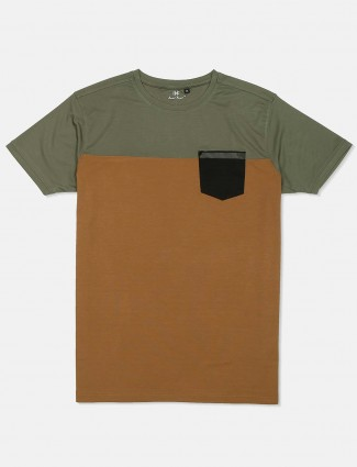 Kuch Kuch olive and brown solid t-shirt