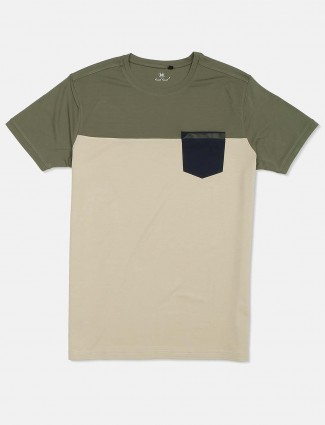 Kuch Kuch solid cream and olive round neck cotton t-shirt