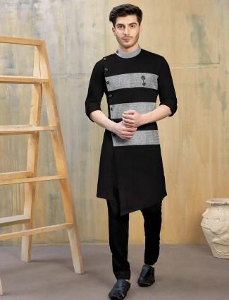 Kurta suit in black color cotton fabric