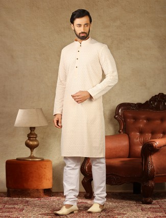 Lakhnavi thread work peach cotton kurta suit mens