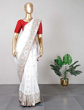 Lastest white cotton silk saree for festivals