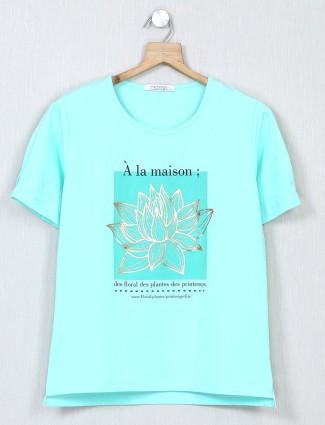 Latest aqua cotton causal wear top for women