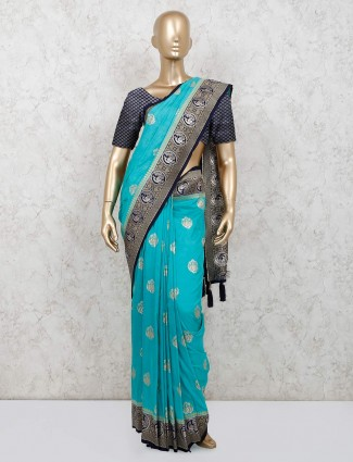 Latest aqua silk saree for wedding session
