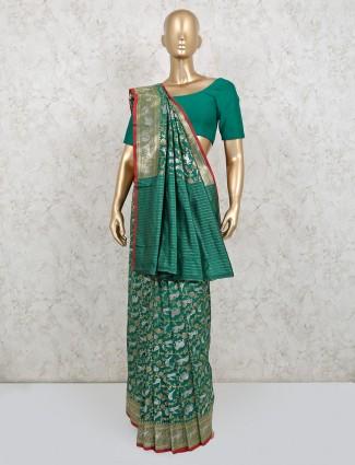 Latest banarasi silk green wedding saree